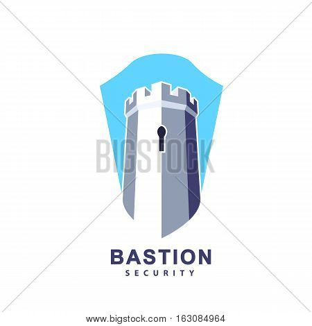 Castle tower and shield vector logo for real estate security agency guard systems