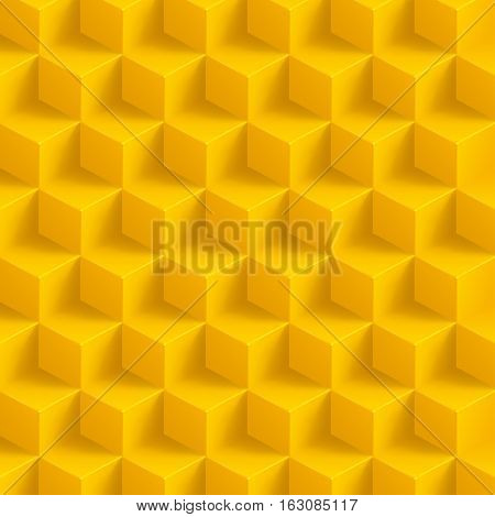 illustration of yellow color cubes with shadow background poster