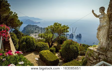 Panoramic view of Capri Island from Mount Solaro Italy