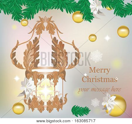 Merry Christmas or Happy New Year 2017 chandelier and gold baubles Vector. Royal decor ornament. Sparkling background with snowflakes
