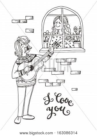 Sketch Hand-drawn Cartoon Man Takes A Serenade Under The Window Of His Beloved.