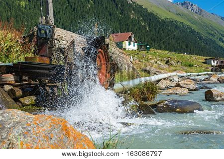 A Small Hydroelectric Power Station On The Mountain River Arashan, Kyrgyzstan.