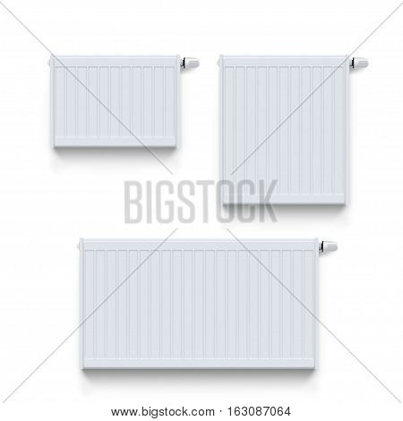 illustration of set of white color heating radiators with shadows on white background