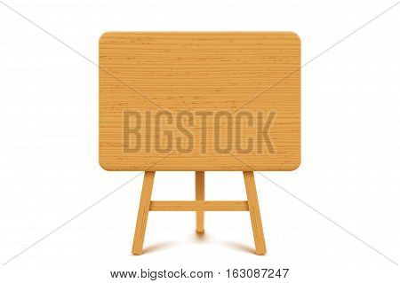 illustration of wooden textured flip chart with shadow on white background