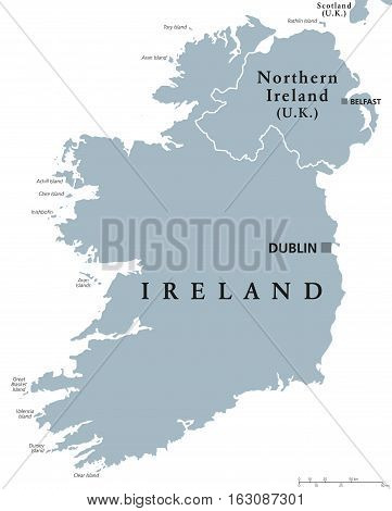 Republic of Ireland and Northern Ireland political map with capitals Dublin and Belfast. Island in Europe and in the North Atlantic. Gray illustration with English labeling on white background. Vector.