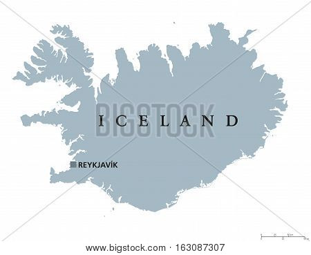 Iceland political map with capital Reykjavik. Republic and Nordic island country in Europe and the North Atlantic Ocean. Gray illustration with English labeling on white background. Vector.