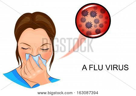 vector illustration of a sick woman for medical publications.