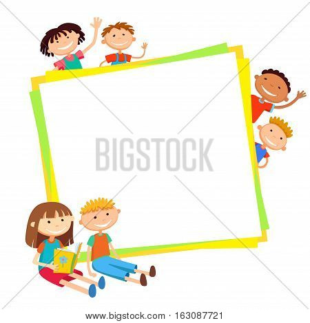 illustration of kids bunner around square banner behind poster vector isolated
