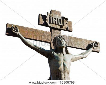 Crucifixion of Jesus Christ isolated on white background
