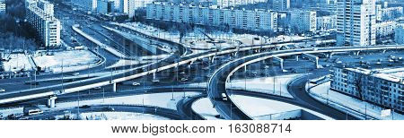 road junction in the streets of Moscow in winter. Russia
