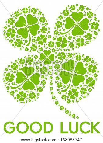 Good luck illustration with a shamrock on a white background