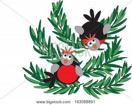 Two funny bullfinch sitting on a green branch