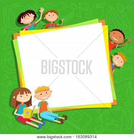 illustration of kids bunner around square banner behind poster vector green background