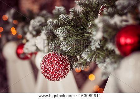 Red ball christmas toy on tree. Stock photo
