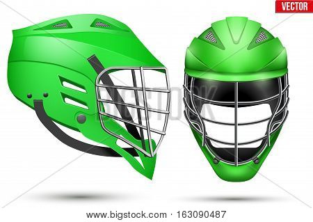 Green Lacrosse Helmet. Front and Side View. Sport goods and equipment. Vector Illustration isolated on white background. poster