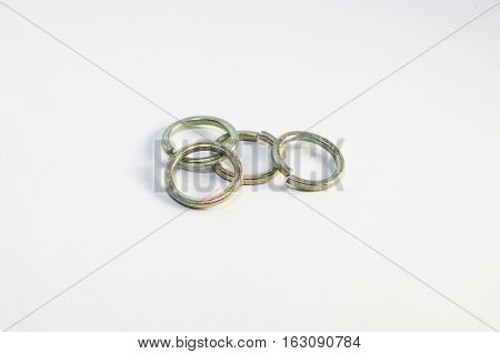 Used old washers and spring washers with isolated white background for commercial