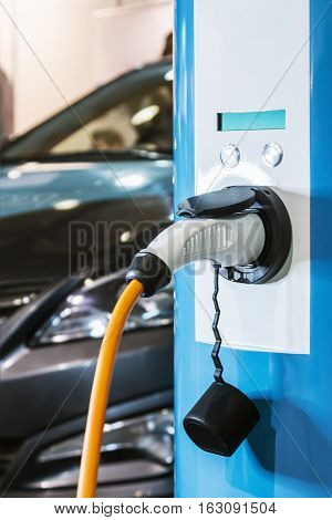 charging station for electric cars. shallow depth of field