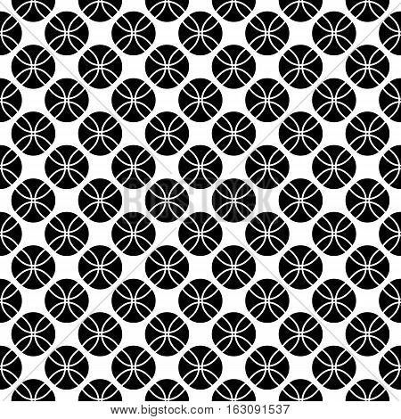 Vector monochrome seamless pattern, black & white repeat geometric texture. Simple abstract endless contrast background. Design element for prints, textile, fabric, cloth, cover, package, digital, web