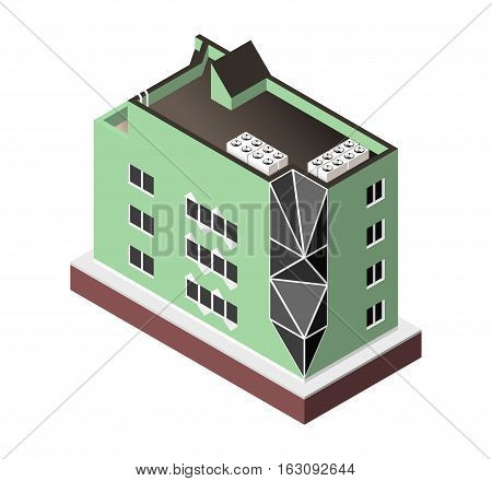 Vector Illustration Isolated On White Background. Isometric Icon Representing Modern House. Urban Dw