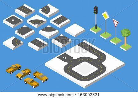 Set Isometric Road And Vector Cars, Common Road Traffic Regulatory. Vector Illustration Eps 10.