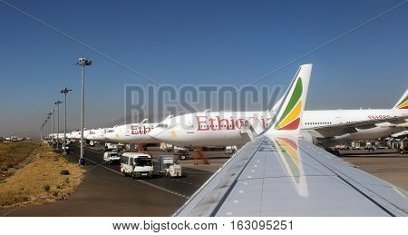 An overwing view of rows of airplanes of Ethiopian Airlines, Addis Ababa, february 2015
