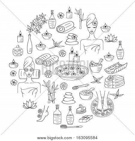 Spa hand drawn doodle icons. Vector illustrations of Beautiful woman spa treatment, beauty procedures, foot bath, wellness.