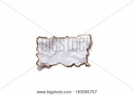 burnt disastrously paper isolated on white background