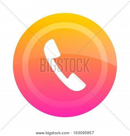 Bright button icon handset inside. Vector illustration.