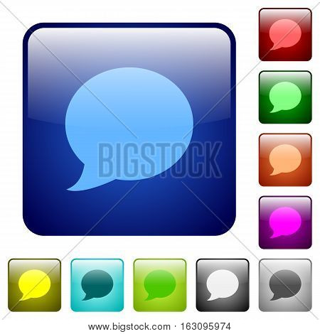 Blog comment icons in rounded square color glossy button set