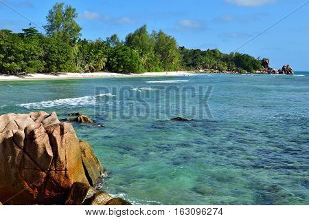 Seychelles La Digue coastline View on the beautiful sandy beach Anse Severe - the most famous beach at the islands