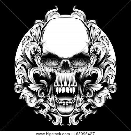Cool Engraving Tattoo Print Design Street Fashion Swirl Filigree Skull Motif