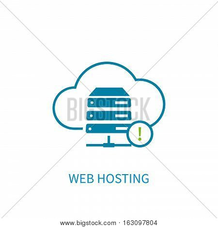 Web Hosting Server Icon With Internet Cloud Storage Computing Network Connection Sign.