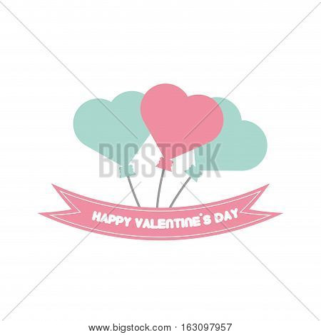 happy valentine day card balloons heart pastel color vector illustration eps 10