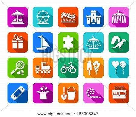 Children's games and entertainment, icons, colored, flat, vector. Vector icons of items and objects for children. Children's rest. White images on a colored background with a shadow.
