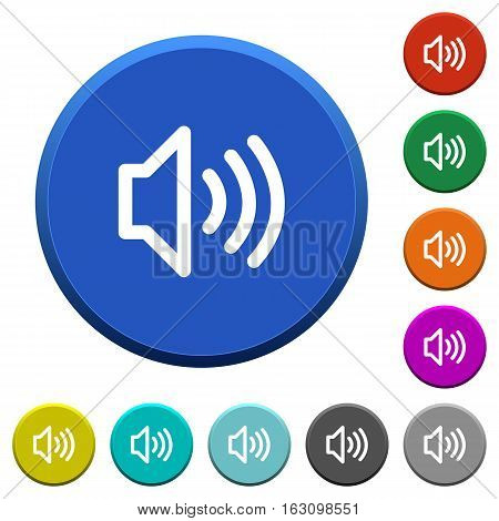 Volume round color beveled buttons with smooth surfaces and flat white icons