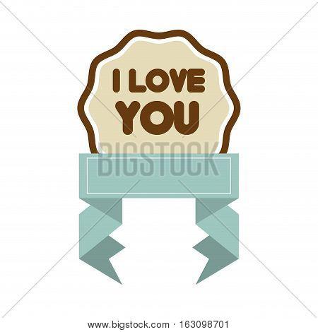 i love you decor blue ribbon label vector illustrattion eps 10