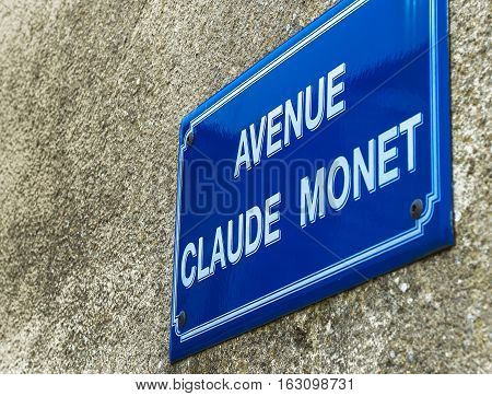Avenue Claude Monet street sign. French countryside