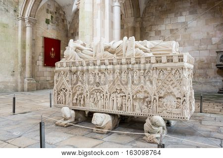ALCOBACA, PORTUGAL - OCTOBER 16, 2015: The tomb of Ines de Castro in the Alcobaca Monastery a Mediaeval Roman Catholic monastery located in the town of Alcobaca Portugal