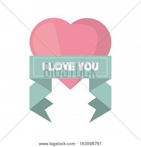 pink heart i love you ribbon vector illustration eps 10