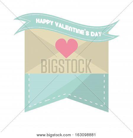 happy valentines day card envelope blue ribbon heart vector illustration eps 10