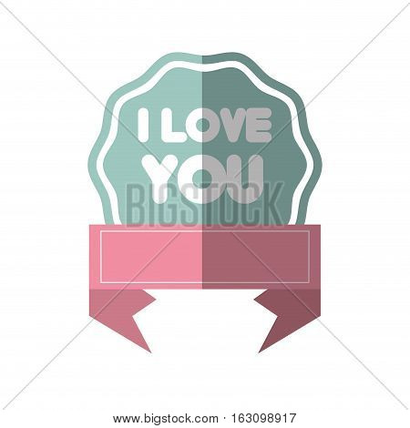 i love you greeting pink banner shadow vector illustration eps 10