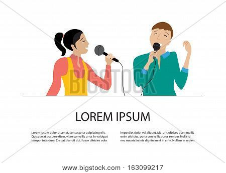 Woman and man singing into microphone, Couple sing in karaoke party, flat vector, place for your text