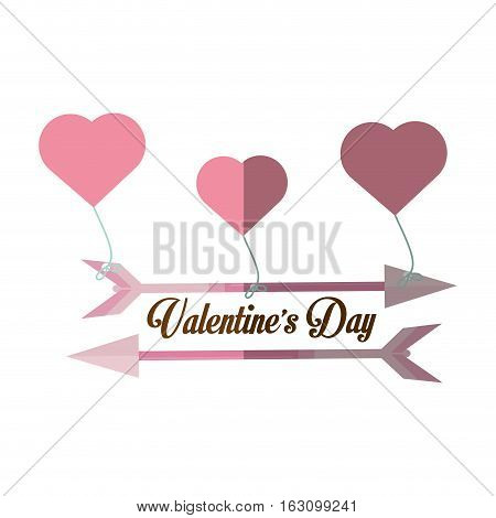 happy valentines day card arrow hanging hearts shadow vector illustration eps 10