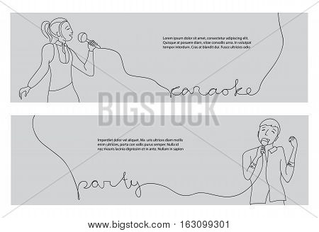 Woman and man singing into microphone, Couple sing in karaoke party, Line doodle style vector horizontal banners
