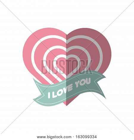 i love you greeting heart style shadow vector illustration eps 10
