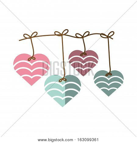 hearts hanging pink and blue decoration shadow vector illustration eps 10