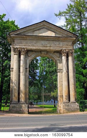 Gatchina Russia - 12 July 2016: Admiralty gate is the gate on the border of the Gatchina Palace Park. Built in 1794-1796