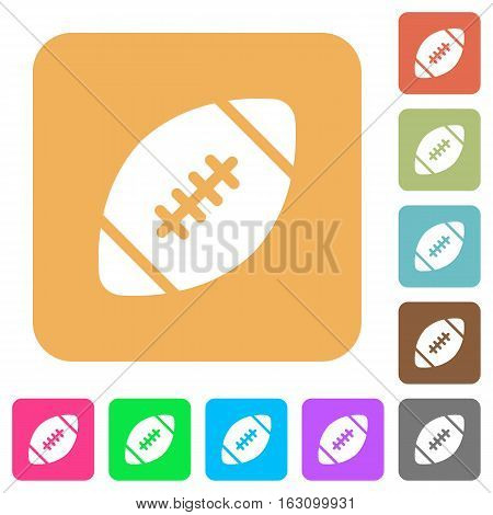 Rugby ball icons on rounded square vivid color backgrounds.