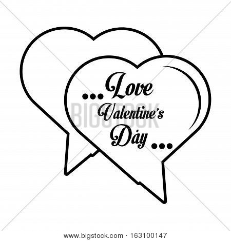 love valentines day card hearts shape bubble outline vector illustration eps 10