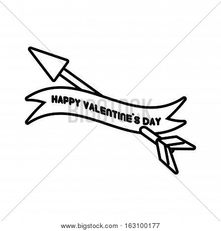 happy valentines day card heart arrow outline vector illustration eps 10